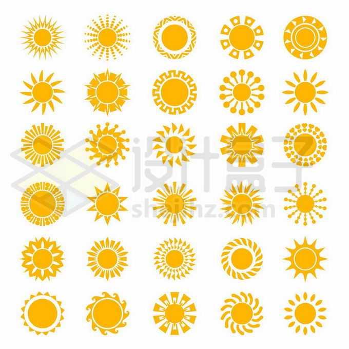30款黄色太阳花纹图案3391061矢量图片免抠素材