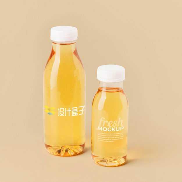 两瓶橙色果汁苹果醋饮料瓶包装样机7833152图片素材