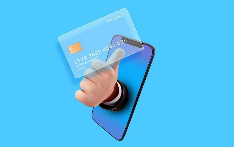 手机里面伸出点赞手势和毛玻璃半透明效果银行卡3973134免抠图片素材