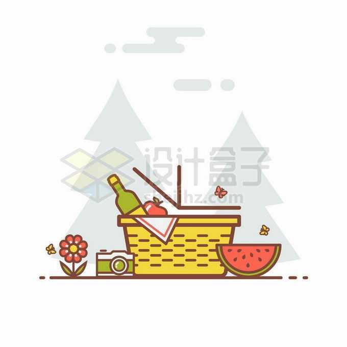MBE风格菜篮子和里面携带的西瓜水果啤酒等露营用品9083906矢量图片免抠素材