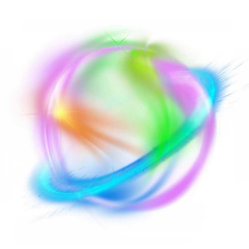 绚丽的彩色光芒光晕光圈发光抽象光球效果5273902免抠图片素材
