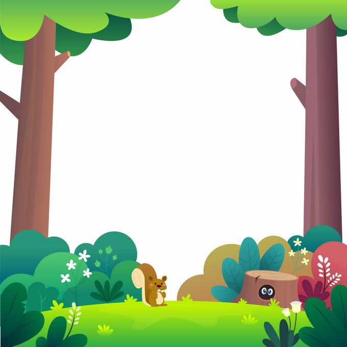 卡通大树森林和草地上的树桩小松鼠自然边框6995111矢量图片免抠素材