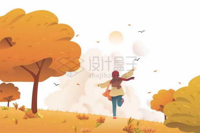 深秋在田野上奔跑的女孩金秋风景9918847矢量图片免抠素材