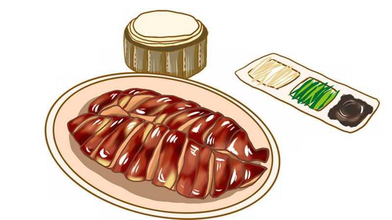 手绘风格的北京烤鸭美味美食3945018png免抠图片素材
