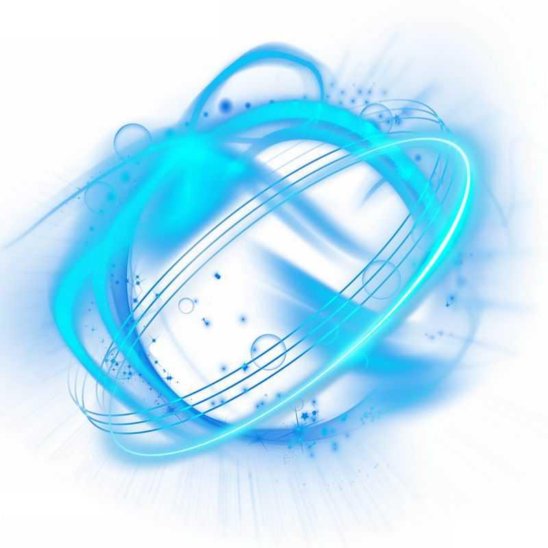 绚丽的蓝色光芒光晕光圈发光抽象光球效果8518786免抠图片素材