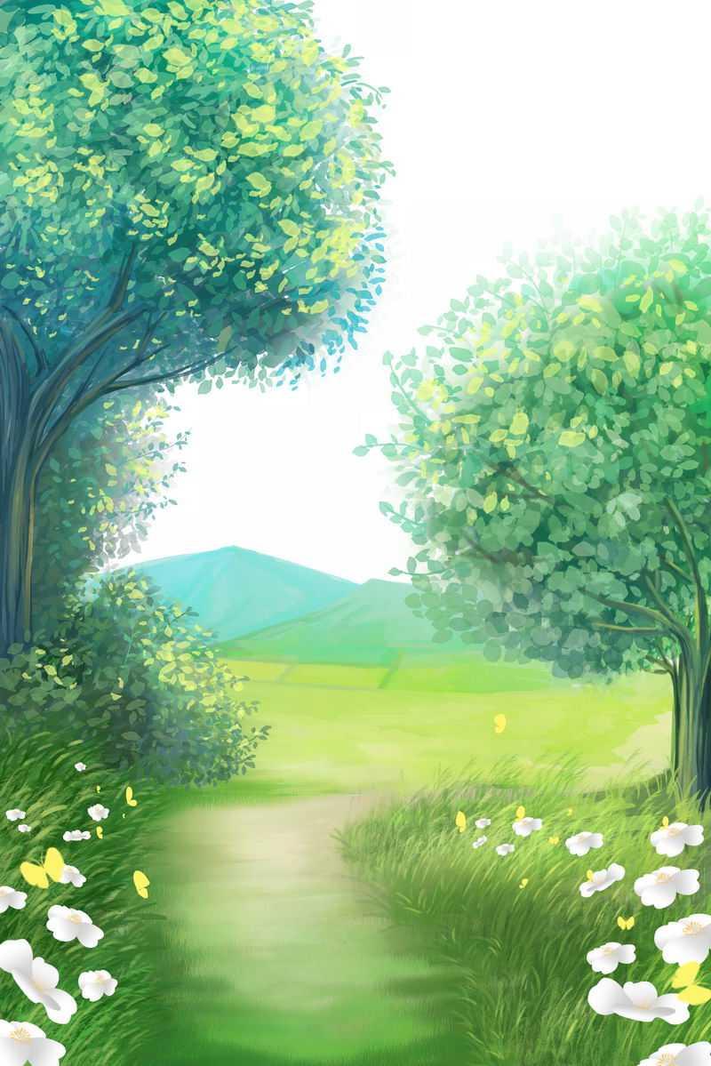 春天夏天翠绿色的大树小路草地花丛和远山田野草原风景4651561免抠图片素材