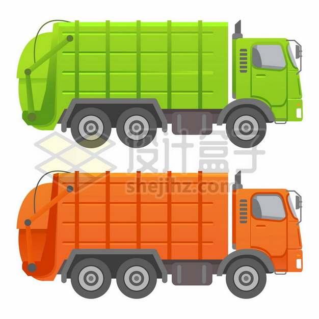 绿色和橙色的垃圾车卡车侧视图1910581矢量图片免抠素材