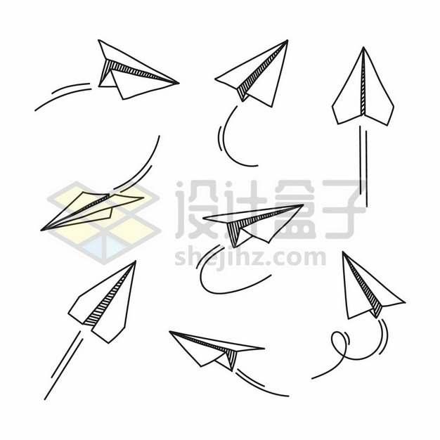 8款手绘线条风格飞行中的纸飞机2517116矢量图片免抠素材