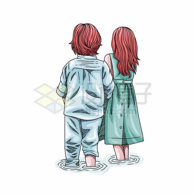 两个卡通小朋友两小无猜正在水里的背影儿童节插画8603366矢量图片免抠素材