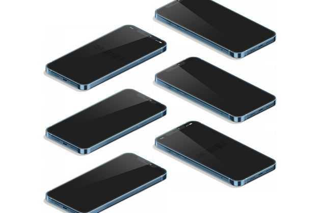 排列整齐的一堆蓝色苹果iPhone12手机屏幕显示样机3928082图片素材