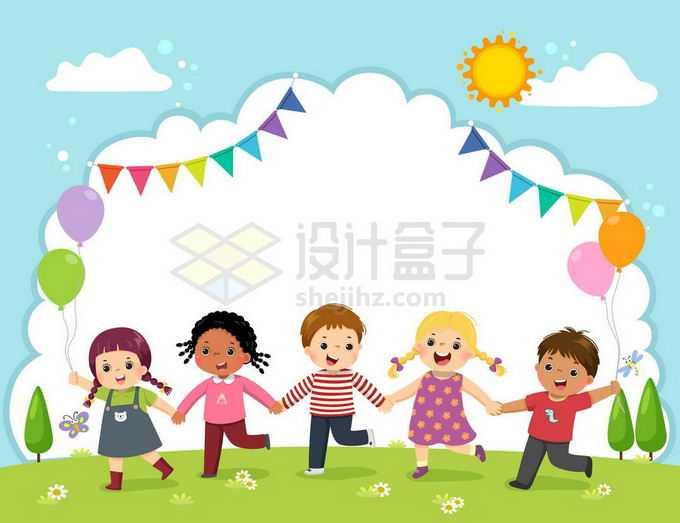 一群手拉手的卡通孩子站在草地上云朵背景儿童节背景图6933708矢量图片免抠素材