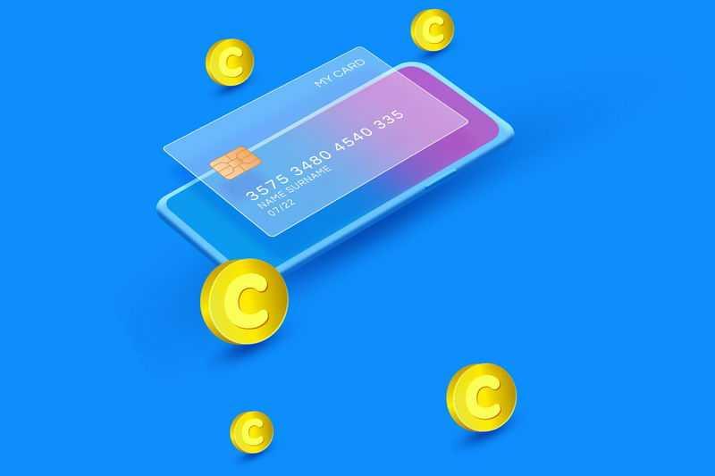 蓝色手机毛玻璃半透明效果银行卡和金币1264373免抠图片素材