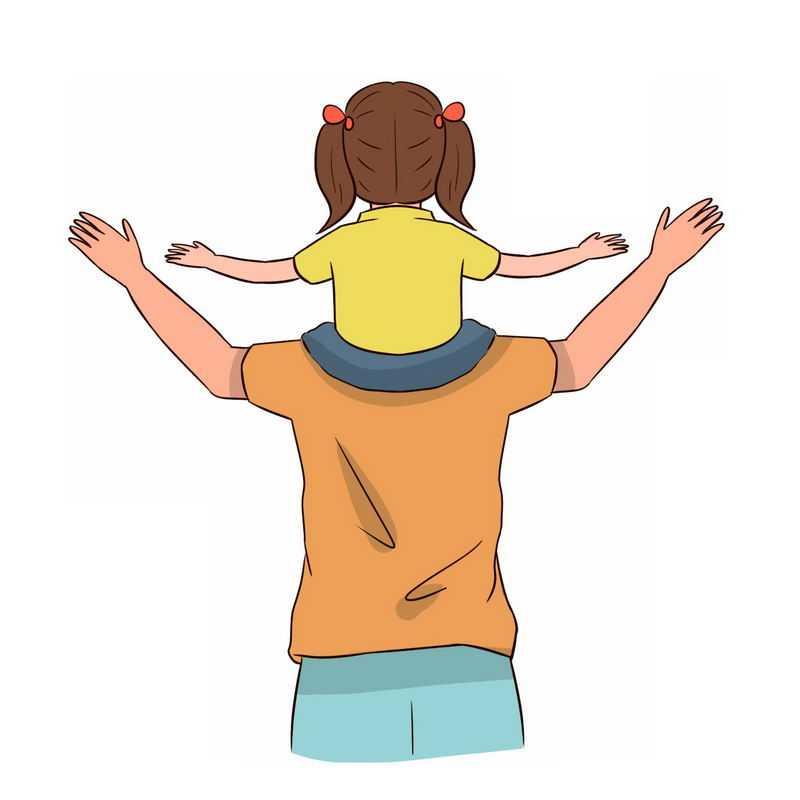 卡通女儿骑在爸爸肩膀上父亲节背影图8780354免抠图片素材
