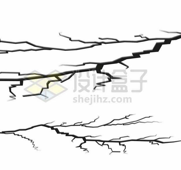 2款黑色裂纹裂缝效果地面开裂9133053矢量图片免抠素材