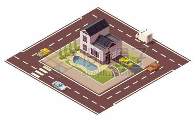 2.5D风格独门别墅和周围的马路4795822矢量图片免抠素材