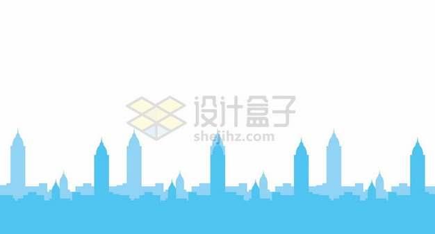 扁平化风格的蓝色城市地平线天际线剪影2954857矢量图片免抠素材