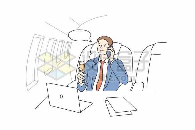 坐在私人飞机上打电话品香槟的商务人士手绘线条插画2636409矢量图片免抠素材