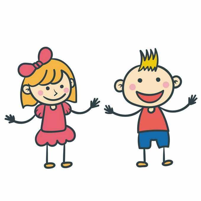 两个手绘卡通小朋友儿童节插画4980590矢量图片免抠素材
