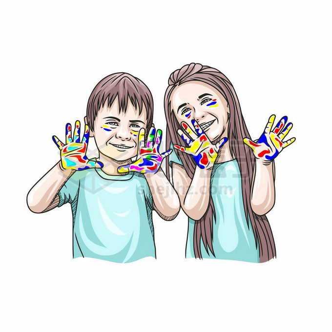2个可爱的卡通小朋友两小无猜手上涂满颜料开心的笑着儿童节插画7895240矢量图片免抠素材