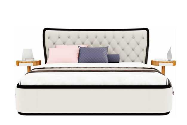 一个白色的简约风格大床卧室装修家具4665644免抠图片素材