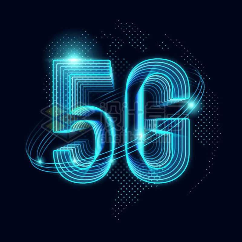 蓝色发光效果蓝点组成的地球背景和高科技风格5G通信技术5436880免抠图片素材