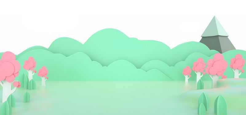 剪纸叠加风格的清新大树森林草丛和高山风景1485072png免抠图片素材