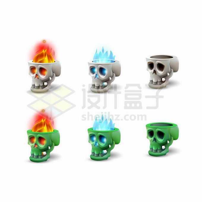 6款骷髅头燃烧着火焰游戏道具UI元素1005415矢量图片免抠素材