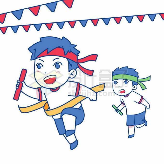 参加校园运动会接力赛跑到终点的卡通小朋友2025282矢量图片免抠素材