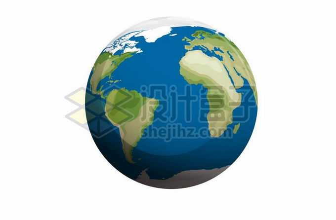 蓝色绿色的地球模型定位在大西洋和南美洲非洲上4418964矢量图片免抠素材