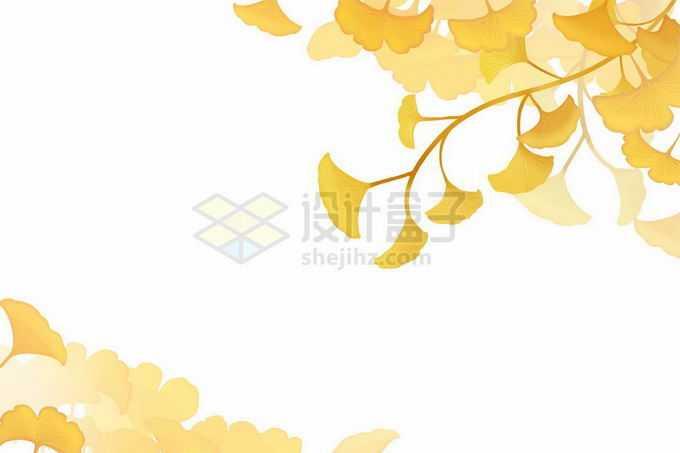 秋天深秋黄色的银杏叶树叶装饰4060962矢量图片免抠素材