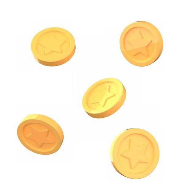 掉落的3D立体卡通金币金黄色硬币9909917免抠图片素材