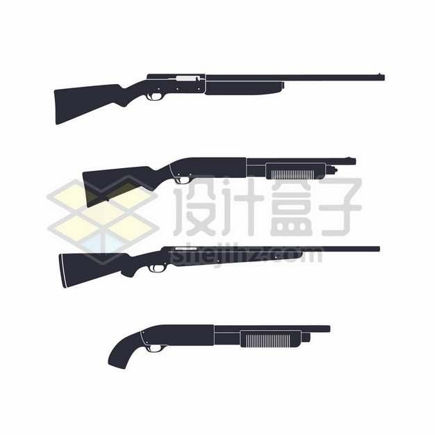4款黑色的散弹枪步枪等轻武器1313955矢量图片免抠素材