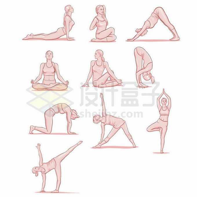 10款练习瑜伽动作的美女手绘插画6395915矢量图片免抠素材