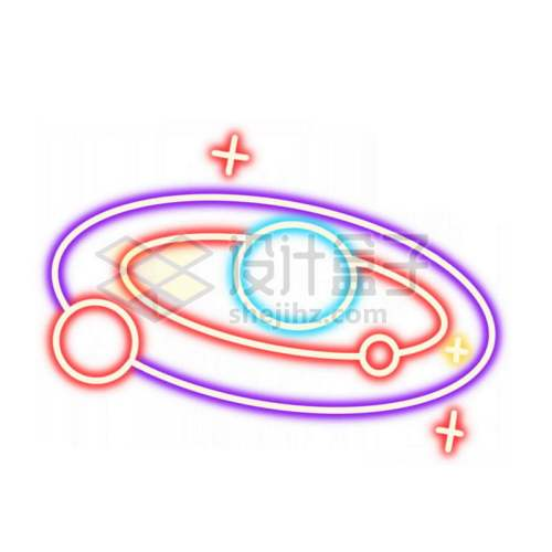 霓虹灯风格发光线条卡通太阳系的星球3192667免抠图片素材