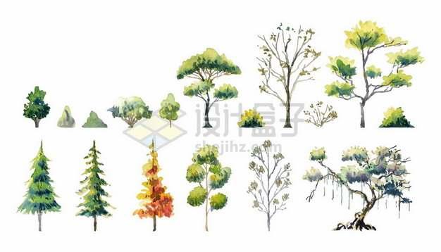 各种水彩画风格大树雪松森林树林树木6375567矢量图片免抠素材