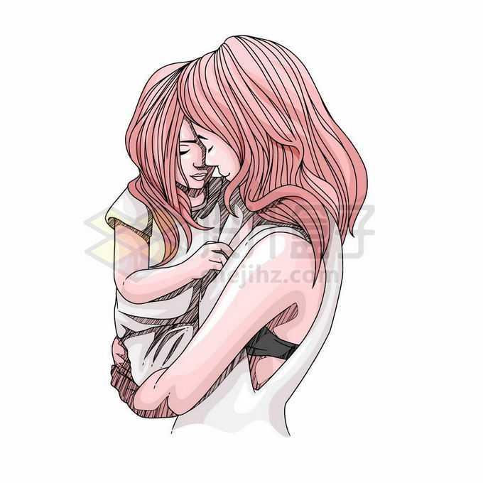 女儿受委屈了妈妈抱着怀里安慰她母亲节手绘插画4275162矢量图片免抠素材