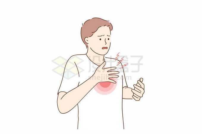 男子摸着胸口心脏疼痛心绞痛手绘线条插画3942987矢量图片免抠素材
