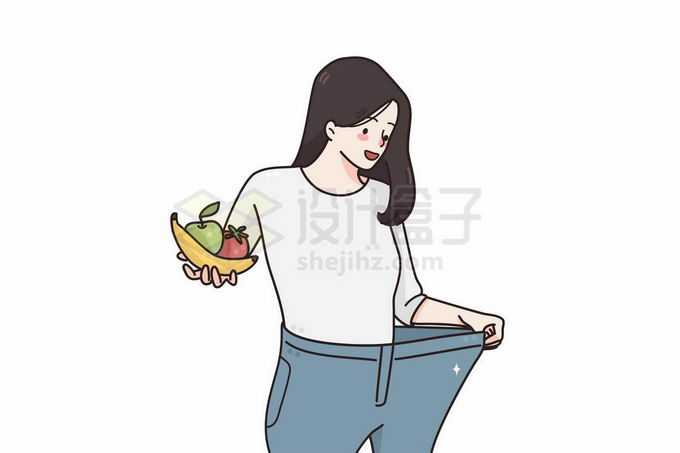 卡通女孩一手拿着水果一手扒开宽松的裤子减肥成功手绘线条插画8877106矢量图片免抠素材