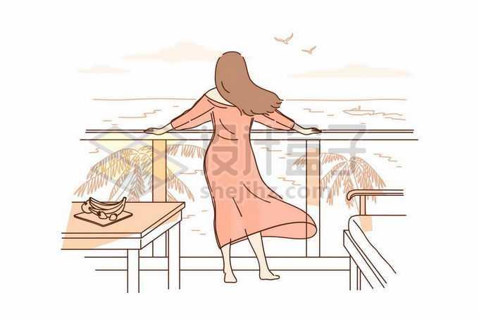 在阳台上趴在栏杆上看远处大海的长发飘飘的女孩背影手绘线条插画3039590矢量图片免抠素材