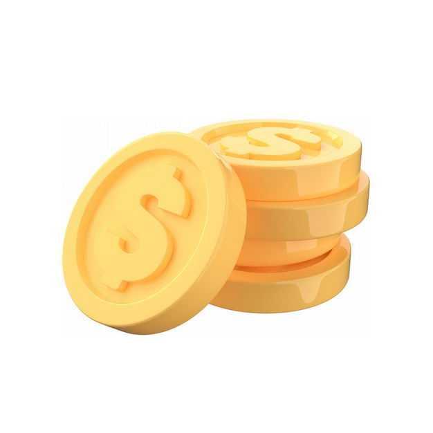 一小堆高清3D立体卡通金币金黄色硬币5248016免抠图片素材