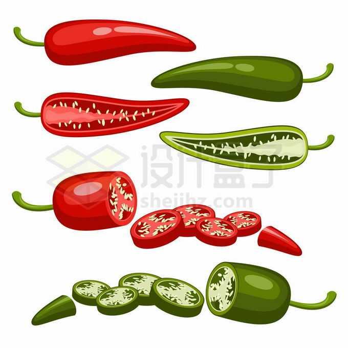 切开的红辣椒和青辣椒美味蔬菜6007829矢量图片免抠素材