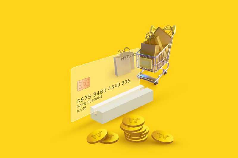 毛玻璃半透明效果银行卡和金币购物车3311746免抠图片素材