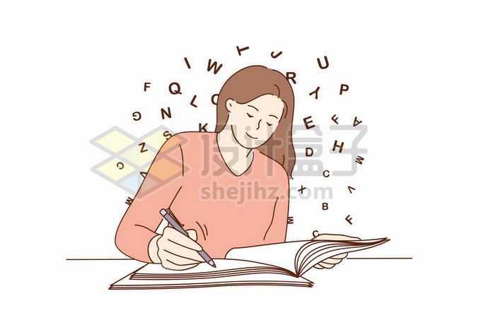 正在批改作业的美女老师或者是认真学习的女孩手绘线条插画1102375矢量图片免抠素材