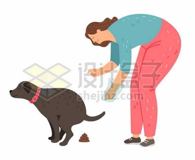 捡屎的女人和宠物狗狗大便以后要捡起来文明养犬宣传插画1772008矢量图片免抠素材
