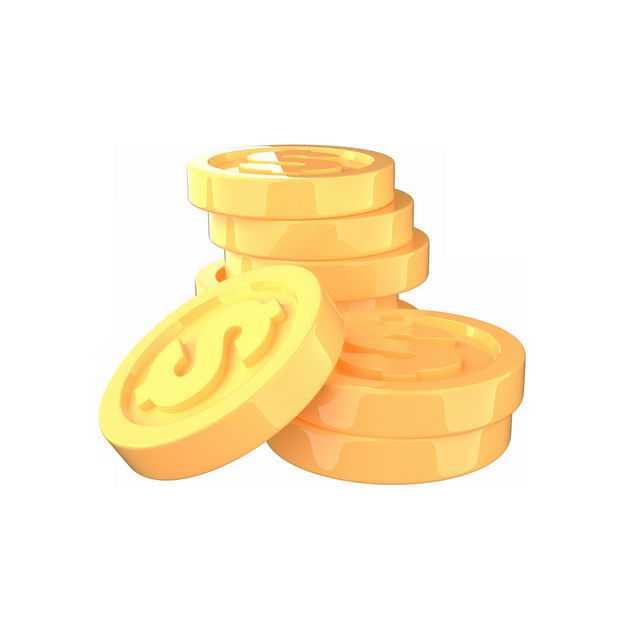 一小堆3D立体卡通金币1100283免抠图片素材