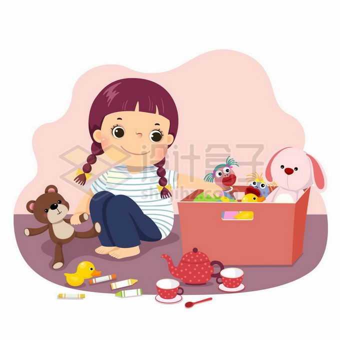 卡通小女孩正在整理自己的玩具儿童节插画3582085矢量图片免抠素材