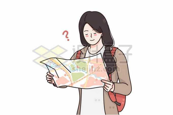 正在看地图导航的旅游迷路女孩手绘插画5618784矢量图片免抠素材
