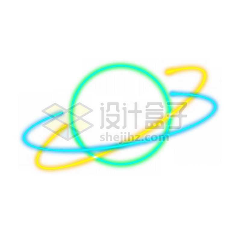 霓虹灯风格发光线条卡通星球带光环8297551免抠图片素材