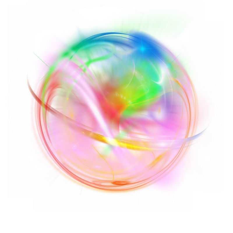 绚丽的彩色光芒光晕光圈发光抽象光球效果2032778免抠图片素材