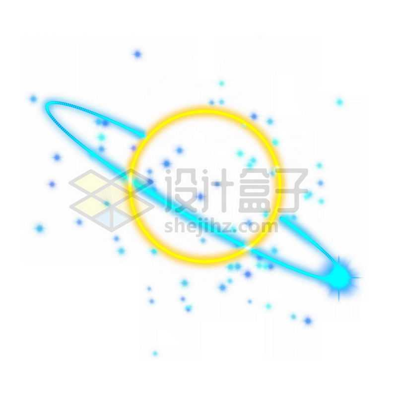 霓虹灯风格发光线条卡通星球和蓝色卫星轨道9971913免抠图片素材